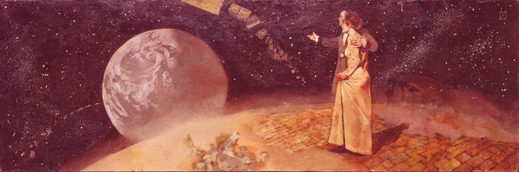 A well-to-do nineteenth century couple gaze down on earth from atop a brick moon.