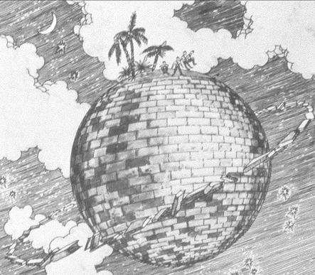 A drawing of Hale's brick moon shows a sphere of brick among the clouds