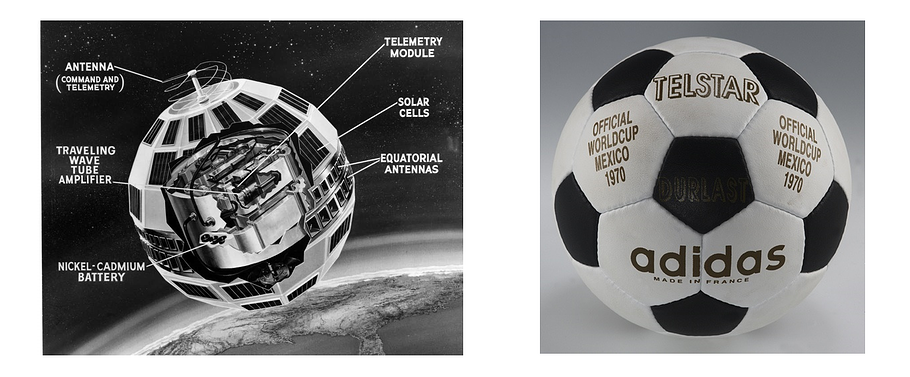 The telstar satellite on one side, an adidas telstar soccer ball on the other. A striking resemblance.